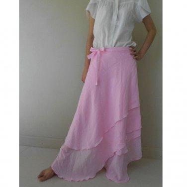 Light Cotton Boho Hippie Gypsy Two Layers Circle Long Wrap Skirt S-L (H)