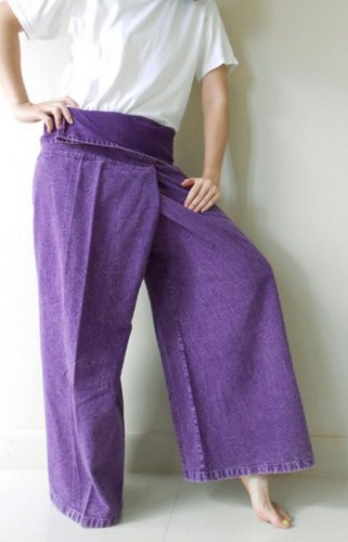 Purple Cotton Thai Fisherman Pants , Yoga ,Wrap , Massage ,Funky unisex Pants (N01)