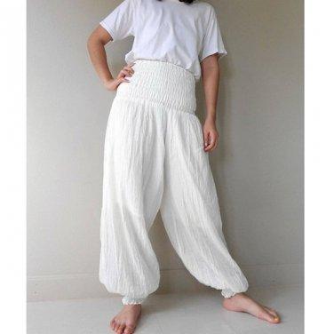 Boho Hippie Gypsy White Cotton Smock waist  Aladdin Pants (AP 7)