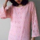 Sweet Pink Cotton Lace Boho Loose Short Tunic Dress S-L  (P 01)