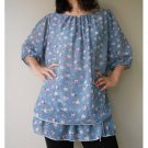 Boho Blue little flowers chiffon two layers Boho Blouse S - L  ( B 01)