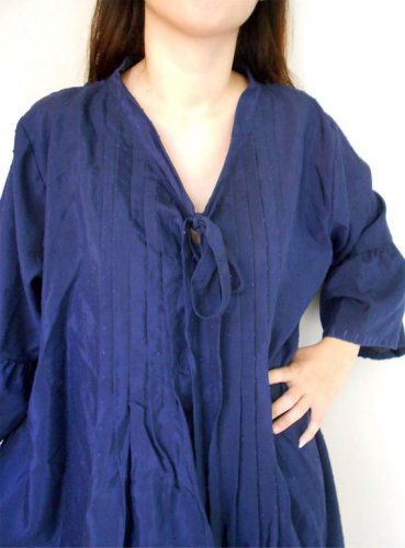 Dark Blue Cotton Pleats Loose Short Boho Tunic Women Summer Dress S-L (BL12)