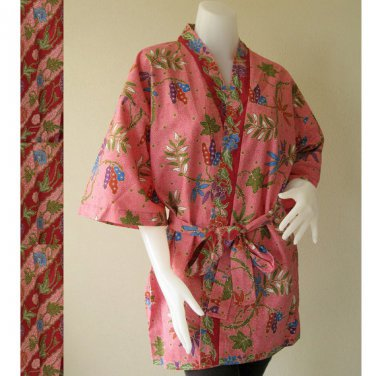 Classic Pink Thai Floral Batik Short Crossover Robe Kimono Wedding Bath Robe S-L (R50)