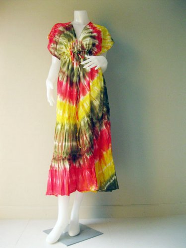 New Tropical Colorful Tie Dye Cotton Boho Hippie V-Neck Long Kimono Women Summer Dress S-L ( T11)
