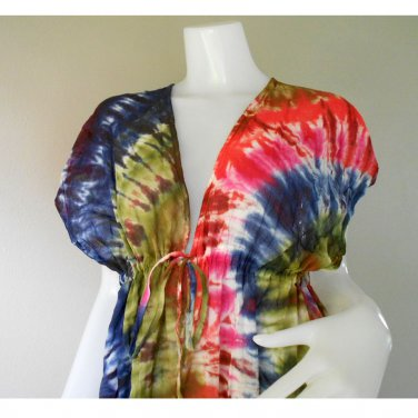 Abstract Cotton TIE DYE Hippie Gypsy New Tropical Kimono Handmade Casual long dress S-L (T10)