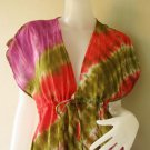 New Japanese Shibori Gypsy Hipping Colorful TIE DYE Cotton maxi Kimono Dress S-L (T14)