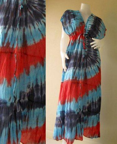 New Tropical Red,Blue ,Yellow TIE DYE Cotton Kimono Handmade Casual long dress S-L (T12)