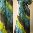 New Tropical Blue, Black, Yellow Colorful TIE DYE Cotton Kimono Handmade Casual long dress S-L (T21)