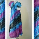 Colorful Tie Dye Cotton Boho Hippie V-Neck Long Kimono Women Summer Dress S-L (TD456)