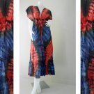 Red Blue Colorful Tie Dye Cotton Boho Hippie V-Neck Long Kimono Women Summer Dress (TD454)