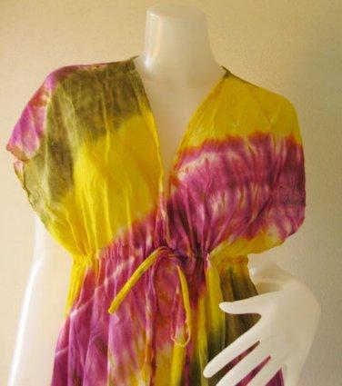 T13-Free shipping  Colorful Tie Dye Cotton Boho Hippie V-Neck Long Kimono Women Summer Dress