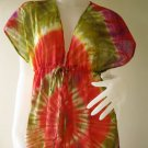 Free shipping  New Tropical Summer  Tie Dye Cotton Boho Hippie V-Neck Long Kimono (T28)