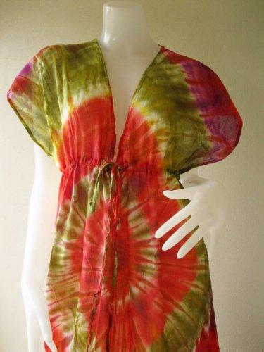 Free shipping  New Tropical Summer  Tie Dye Cotton Boho Hippie V-Neck Long Kimono (T28)