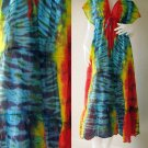0 New Tropical Tie Dye Cotton -Beach Handmade Long Kimono Women Summer Dress S-L (T27)