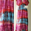 Fre shipping  Colorful Tie dye coton Boho Hippie New Tropical  Kimono Women Summer Dress S-L (T22)