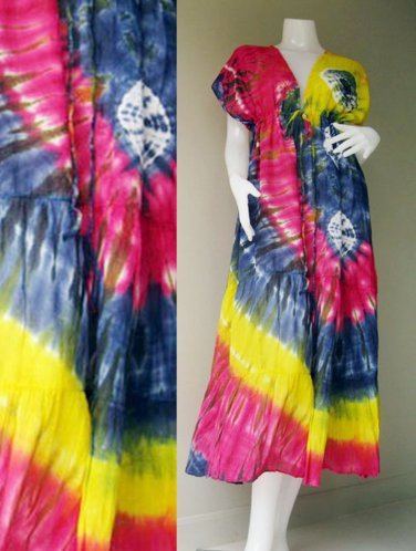 Tropical  Colorful Tie Dye Cotton -Beach Handmade Long Kimono Women Summer Dress S-L (T20)