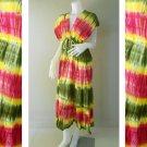 New Tropical Colorful Tie Dye Cotton Boho Hippie V-Neck Long Kimono Women Summer Dress (TD310)