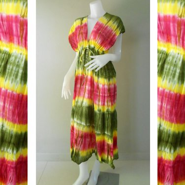 New Tropical Colorful Tie Dye Cotton Boho Hippie V-Neck Long Kimono Women Summer Dress (TD310)