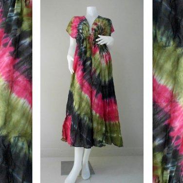 Free shipping Boho hippie tie dye cotton maxi kimono dress (TD468)