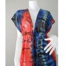 New Tropical Colorful Tie Dye Cotton Boho Hippie V-Neck Long Kimono Women Summer Dress TD466