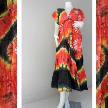 TD 462 Free shipping Colourful Tie Dye Cotton Hippie Long Kimono Women Summer S-L
