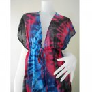 TD458-Free shipping New Tropical Tie Dye Cotton Long Kimono Summer Dress S-L