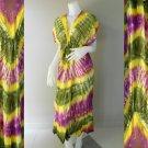Free shipping New Tropical Colorful Tie Dye Cotton  Long Kimono Women Summer Dress (TD336)