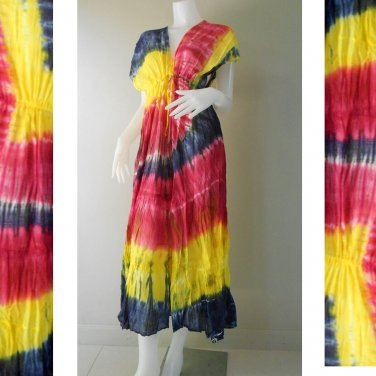 Free shipping  New Tropical Summer  Tie Dye Cotton Boho Hippie V-Neck Long Kimono (TD328)
