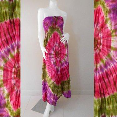 Free Shipping 2 in 1 Boho Hippie Summer Tie Dye Smock Tube Dress /Skirt (TD96)