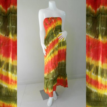 Free shipping  New Tropical Summer  Tie Dye  Long Smock Dress/Skirt (TD90)