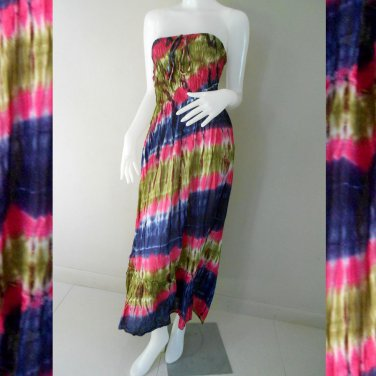 Free Shipping Hippie Gypsy Tie Dye Cotton Summer Long Smock Maxi Dress/skirt (TD 88)