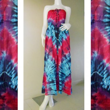 Free Shipping  Bohemian hippie tie dye smocked sundress flowy maxi dress /Skirt (TD 84)