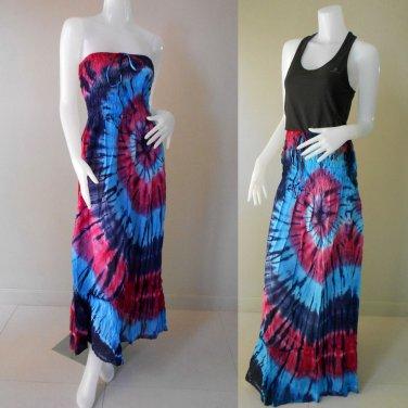 Free Shipping   Bohemian hippie tie dye smocked sundress flowy maxi dress / Skirt (TD 78)