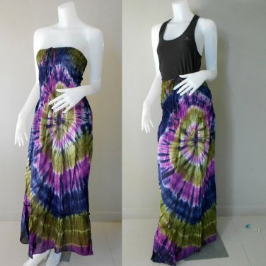 Free Shipping  2 in 1 Boho Hippie tie dye cotton smock tube dress maxi long skirt (TD 76)