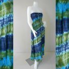 Free Shipping Tie Dye Summer Long Smock Dress V Neck Halter Maxi /Skirt(Smock 418)