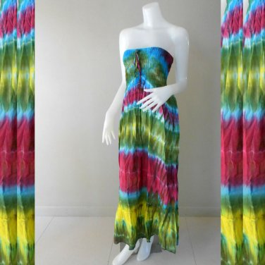 FRee Shipping Tie Dye Cotton  Summer Long Smock Dress V Neck Halter/Skirt (Smock 414)