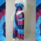 Free Shipping Tie Dye  Cotton Summer Long Smock Dress V Neck Halter/Skirt (Smock 408)