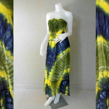 Free  Shipping  2 in 1 Boho Hippie tie dye cotton smock tube dress maxi long skirt (Smock 406)