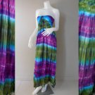 Free Shipping Free Shipping Tie Dye Summer Long Smock Dress V Neck Halter Maxi /Skirt (Smock 403)