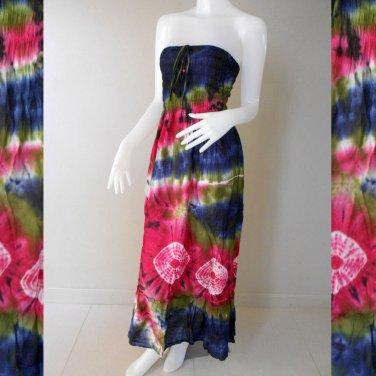 Free Shipping Tie Dye Summer Long Smock Dress V Neck Halter Maxi /Skirt(Smock 402)