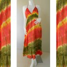 Long Halter Tie Dye Cotton Maxi Dress(DMS 358)