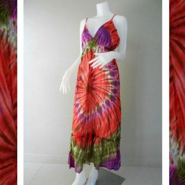 Hippie Gypsy Tie Dye Cotton Long Summer Halter Back Smock Maxi Dress (  DMS368)