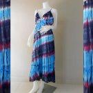 Hippie Gypsy Tie Dye Cotton Long Summer Halter Back Smock Maxi Dress (DMS364)
