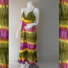 Green Purple Tie Dye Cotton Long  Halter Summer Dress (DMS340)