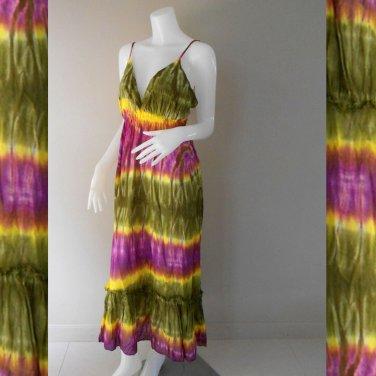 Green Purple Tie Dye Cotton Long  Halter Summer Dress (DMS340)