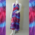 Long Angled Hem Halter Tied Tie Dye Ladies Summer Cotton Dress (DMS352)