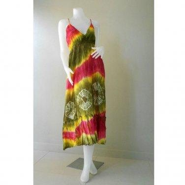 Hippie Gypsy Tie Dye Cotton Long Summer Halter Back Smock Maxi Dress (DMS350)