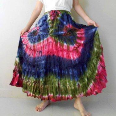 Tie Dye  Cotton Stretch Elastic Waist Long Maxi Beach Skirt S-L (EL09)