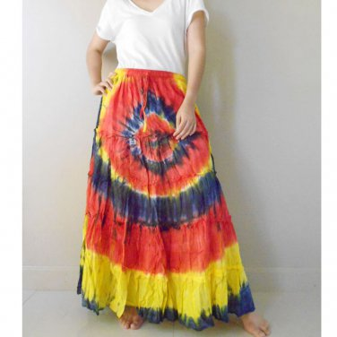 New ColorfulTie dye Cotton Elastic waist Ruffle Skirt Maxi Dress S-L (EL07)