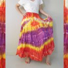Free Shipping Tie Dye Cotton Elastic Waist Ruffle Long Maxi Summer Skirt (EL05)